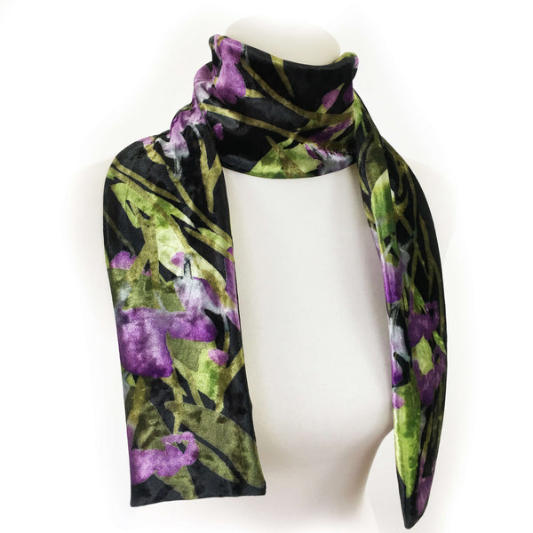 Abstract Leaf Scarf on Black - All season velour - UndertheLeafDesigns.com