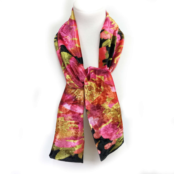 Petals Watercolor Scarf on Black - All season velour - UndertheLeafDesigns.com
