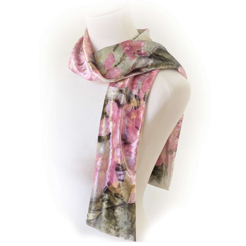 Pink Hyrdrangea Scarf on Seafoam - All season velour - UndertheLeafDesigns.com