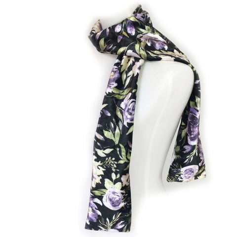Mixed Purple Watercolor Floral Scarf on Black - All season velour - UndertheLeafDesigns.com