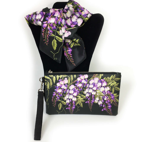 2 Piece Gift Set Vegan Leather Clutch and Scarf - Wisteria on black - UndertheLeafDesigns.com