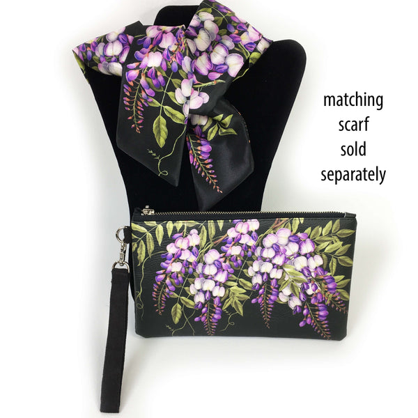 Wisteria on black wristlet - vegan leather/suede - UndertheLeafDesigns.com