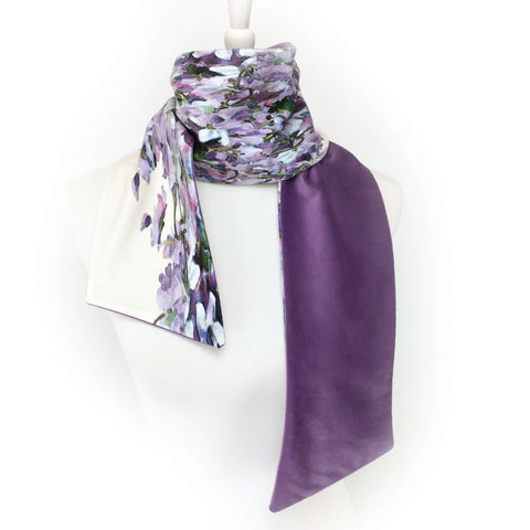 Violets and lavender hand painted velvet scarf