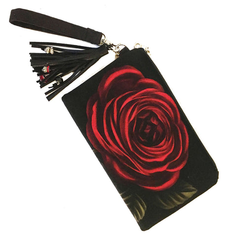 Black Rose Velvet and Vegan Suede Clutch/Wristlet - UndertheLeafDesigns.com
