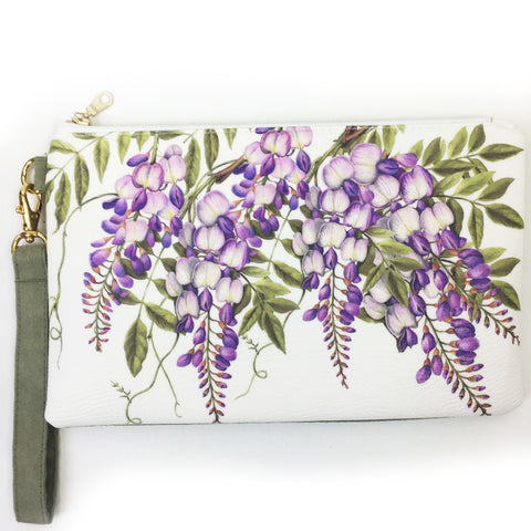 Wisteria on white wristlet - vegan leather/suede - UndertheLeafDesigns.com
