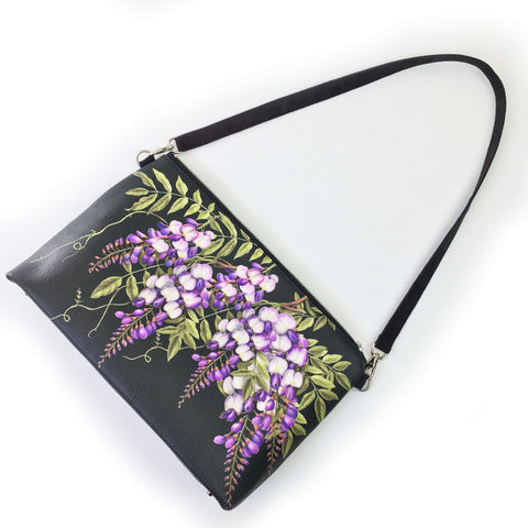 Wisteria on Black Zip Top Shoulder Bag - Vegan Leather/ Suede