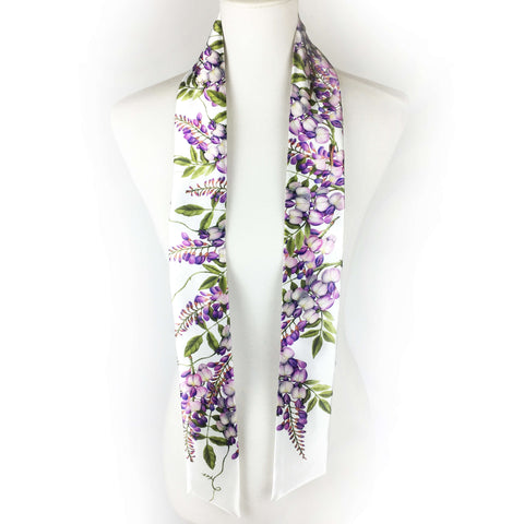 Wisteria skinny scarf on white - UndertheLeafDesigns.com