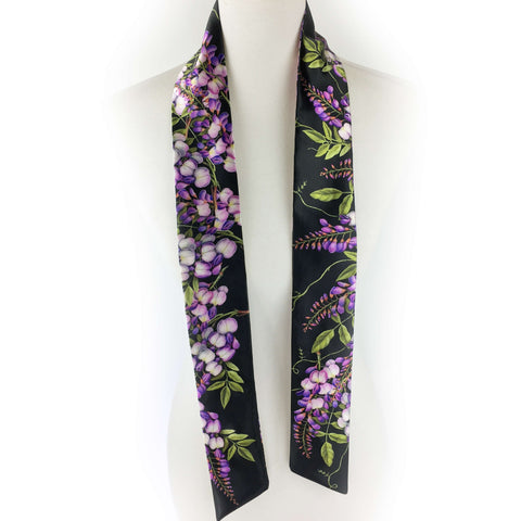 Wisteria skinny scarf on black - UndertheLeafDesigns.com