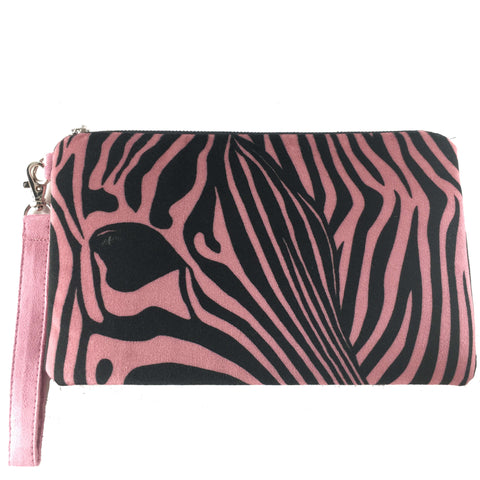 Rose petal zebra velvet and vegan suede clutch/wristlet - UndertheLeafDesigns.com