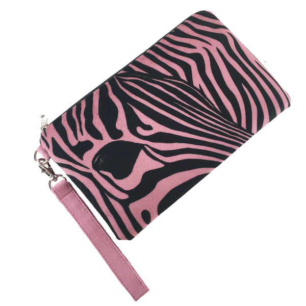 2 Piece Gift set Velvet Clutch and Scarf - Rose Petal Pink Zebra - UndertheLeafDesigns.com
