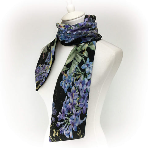 Lilacs on Black hand painted velvet artisan scarf