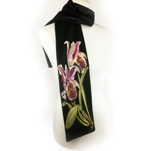 Single orchid hand painted velvet scarf