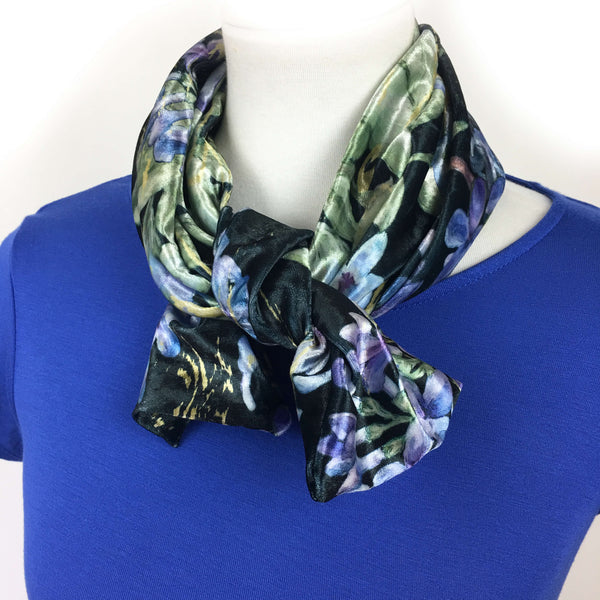 Black Lilac Scarf - All season velour - UndertheLeafDesigns.com