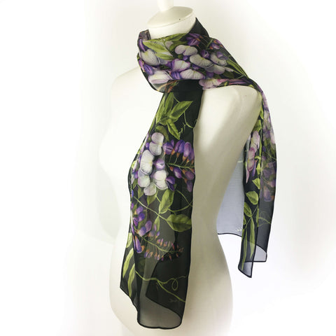 Wisteria floral chiffon scarf on black