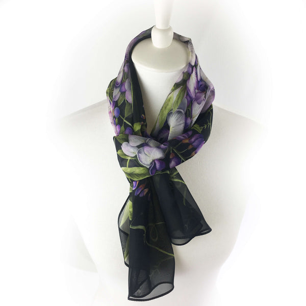 Wisteria floral chiffon scarf on black - UndertheLeafDesigns.com