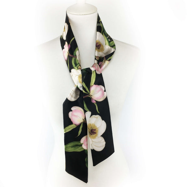 White peonies and hummingbirds on black - skinny scarf - UndertheLeafDesigns.com
