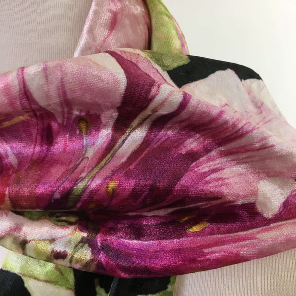 Magenta Watercolor Peony Scarf on Black - All season velour - UndertheLeafDesigns.com