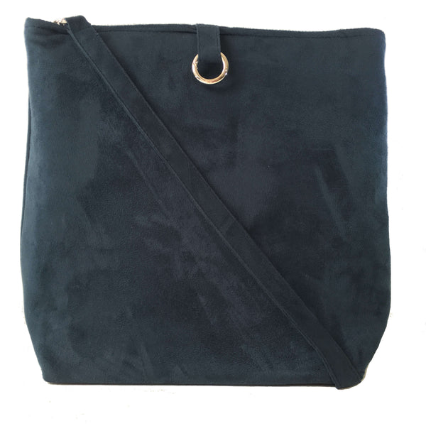 Navy Luxe Vegan Suede 5 Pocket Tote/ShoulderBag - UndertheLeafDesigns.com