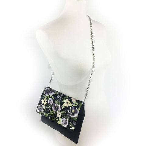 Purple Watercolor Floral on Black 3 in 1 purse - clutch/shoulder/crossbody
