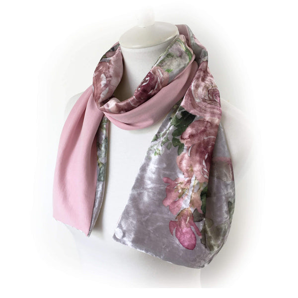 Mauve Roses on gray - All season velour & modal - UndertheLeafDesigns.com
