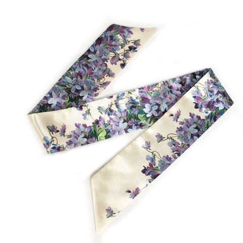 Violets Satin Twilly Scarf