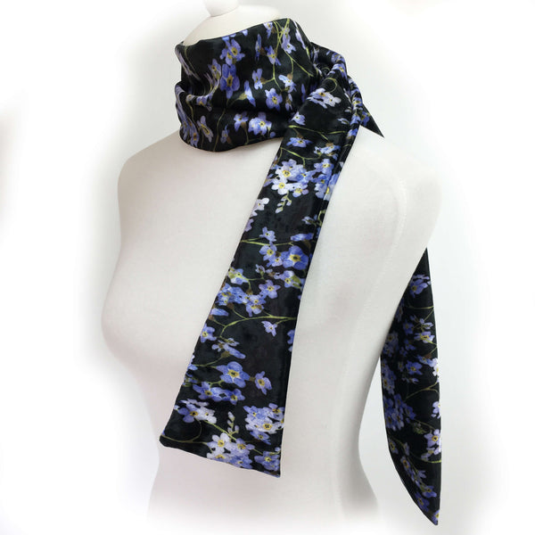 Forget-Me-Not Watercolor Scarf on Black - All season velour - UndertheLeafDesigns.com