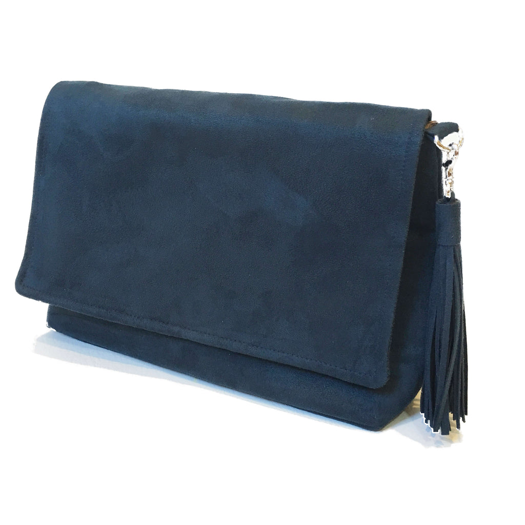 Navy luxe vegan suede convertible clutch/ shoulder bag with large tassel - UndertheLeafDesigns.com