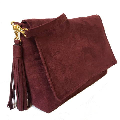 Wine Lux Vegan Suede clutch/ shoulder bag with large tassel