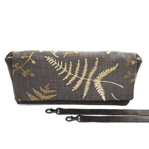 Embroidered Convertible Clutch/ Shoulder bag Green Ferns with Gray VeganSuede - UndertheLeafDesigns.com