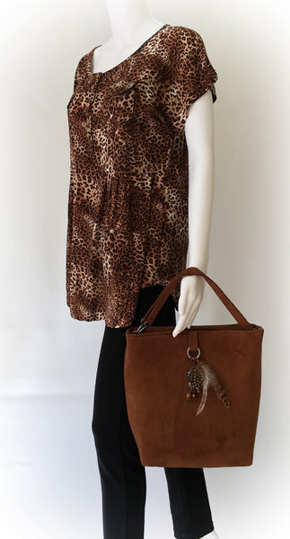 Copper Rust Luxe Vegan Suede 5 pocket Tote/ShoulderBag with Beads - UndertheLeafDesigns.com