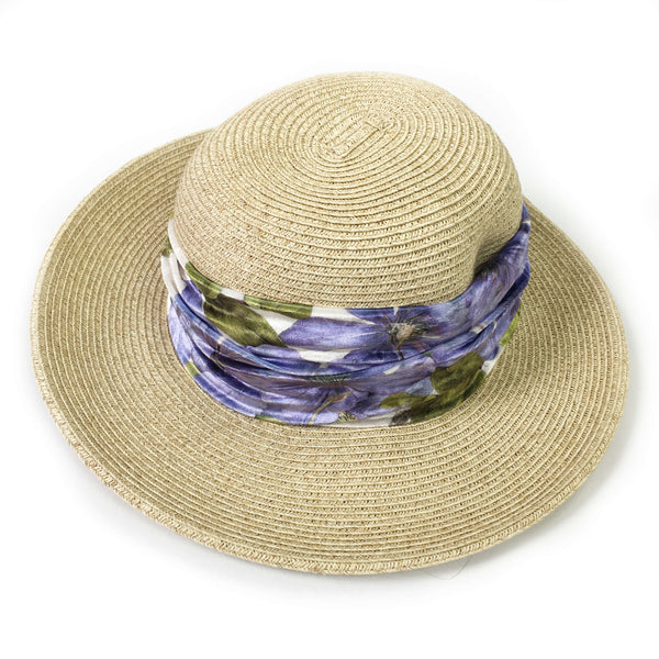 Periwinkle Clematis Neck Scarf/FaceCover/Headband/HatBand/ - All season - UndertheLeafDesigns.com