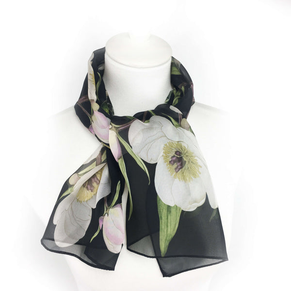 Peonies and Hummingbirds Black Chiffon Scarf - UndertheLeafDesigns.com