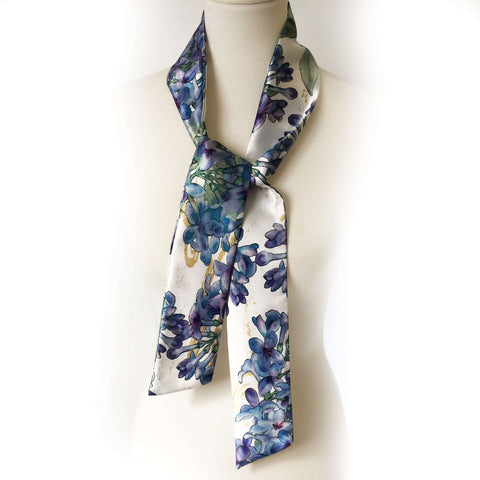 Lilacs Skinny Scarf on White