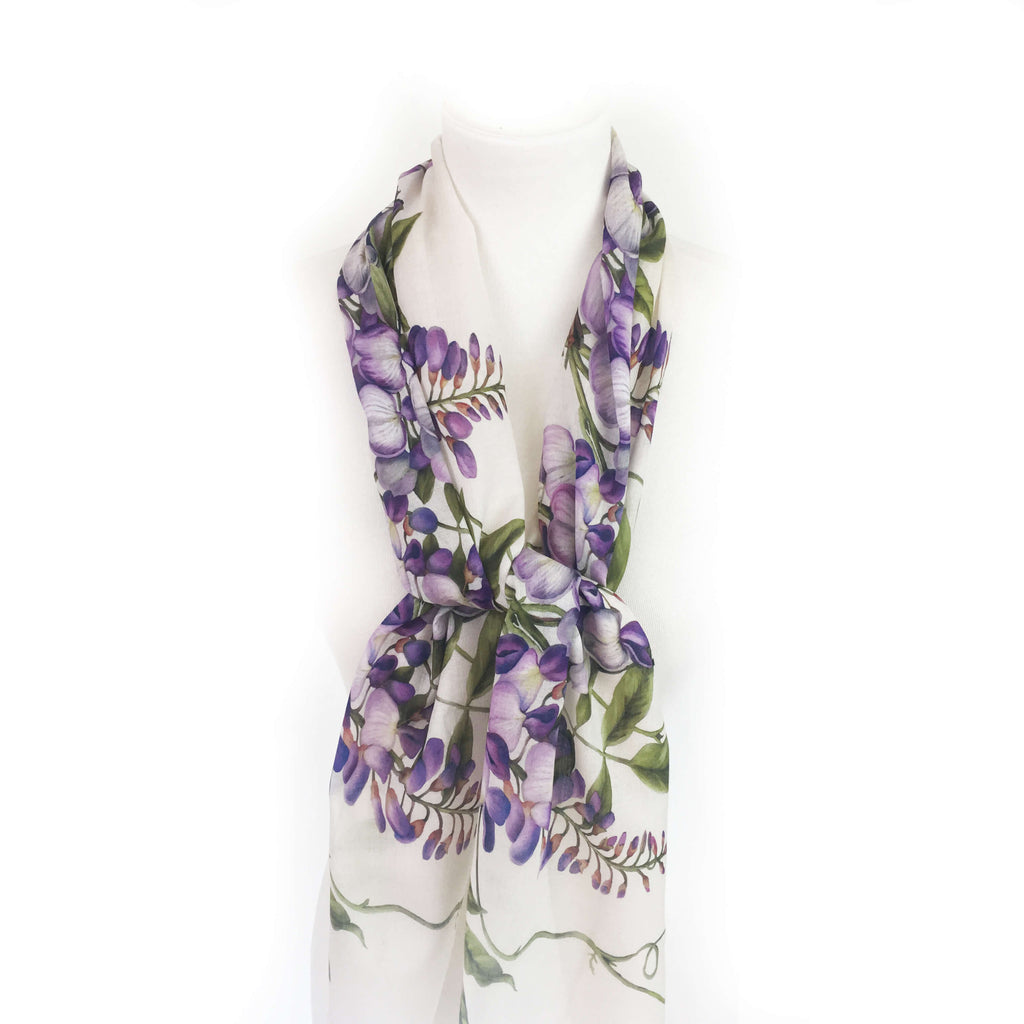 Divine Vines on white floral scarf - natural linen look - UndertheLeafDesigns.com