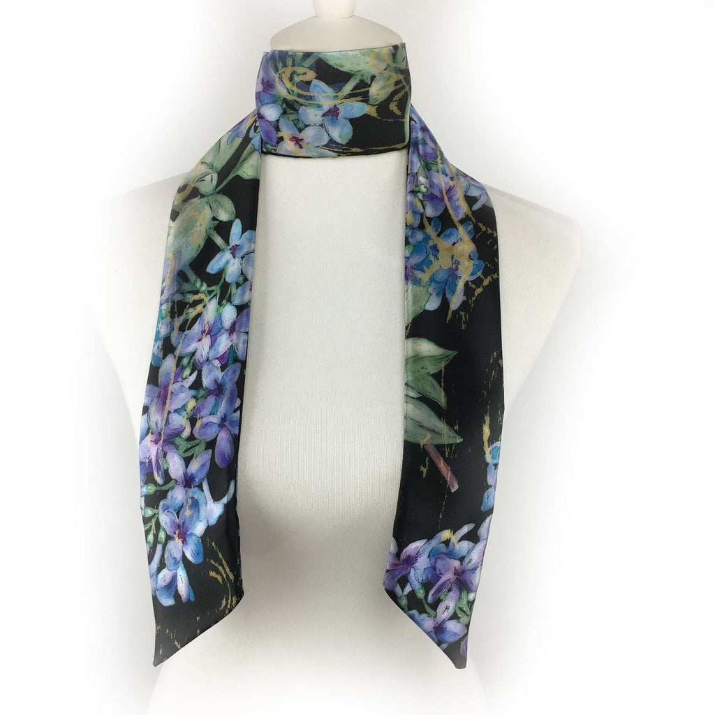 Lilacs Skinny Scarf on Black - UndertheLeafDesigns.com