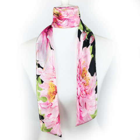 Pink and Black watercolor peony hand painted artisan scarf - modern size