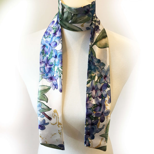 Lilacs Skinny Scarf on White - UndertheLeafDesigns.com