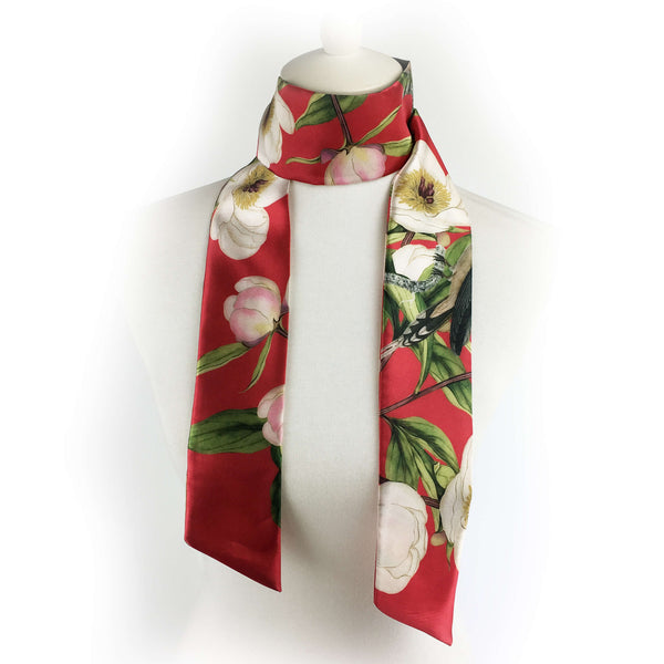 White peonies and hummingbirds on red artisan scarf - modern size
