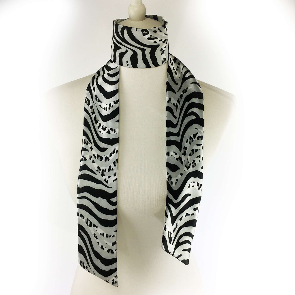 Zebra and leopard black silver and white hand painted artisan scarf - modern size - UndertheLeafDesigns.com