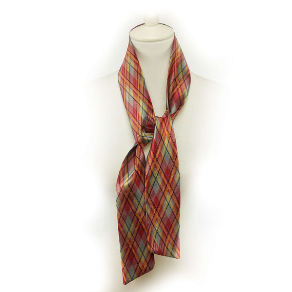 Red mustard gray and black plaid scarf - modern size