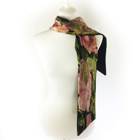Scroll Rose Velvet Scarf on Black - UndertheLeafDesigns.com