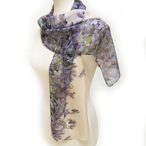 Violets Chiffon Scarf on Cream