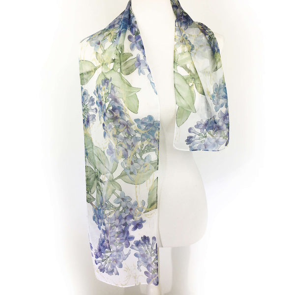 Lilacs on White Chiffon Scarf - UndertheLeafDesigns.com
