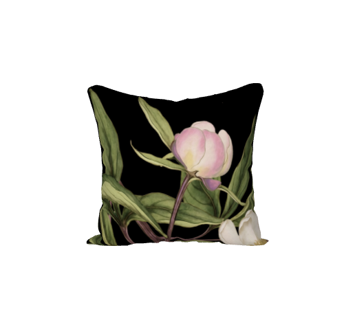 White Peony Series Print D - 18x18 inch Velvet Pillow Cover - UndertheLeafDesigns.com