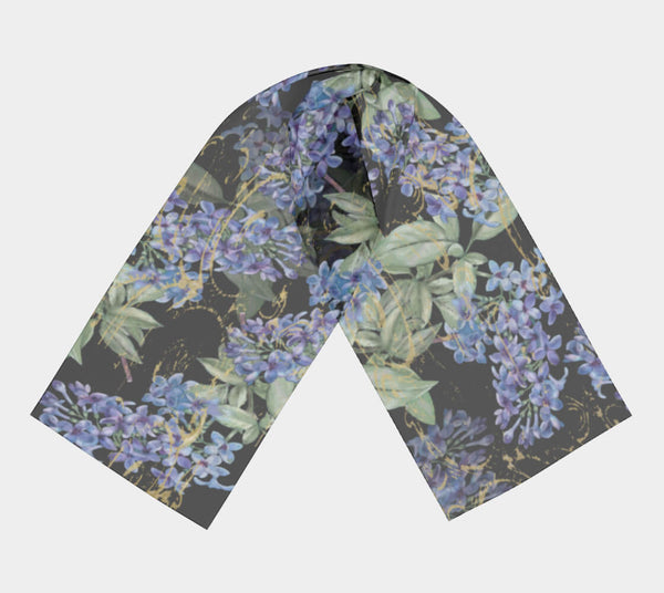 Lilacs on Black Chiffon Scarf - UndertheLeafDesigns.com