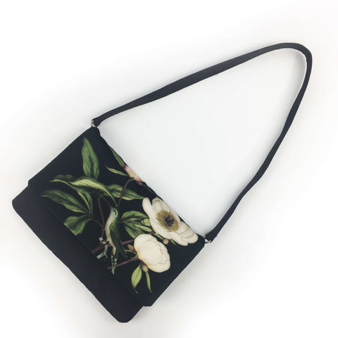 Peony Hummingbird Clutch/Cross/Body/Shoulderbag - Velvet/VeganSuede - UndertheLeafDesigns.com