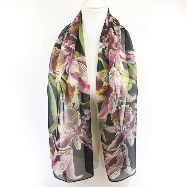 Orchids on Black Chiffon Scarf - UndertheLeafDesigns.com