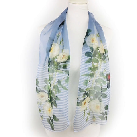 White Rose Butterfly Scarf Chiffon