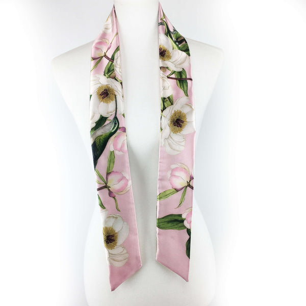 White peonies and hummingbirds Skinny Scarf on pink