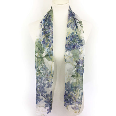 Lilacs on White Chiffon Scarf